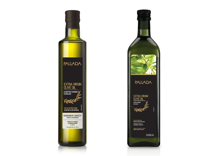 Extra virgin olive oil in glass bottles